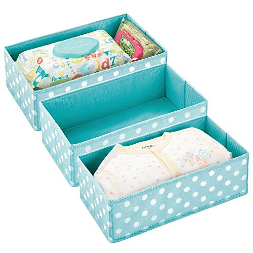 Dresser Drawer and Closet Storage Organizer for Child/Kids Room or Nursery - Roomy Open Rectangular Compartment Organizer - Fun Polka Dot Pattern, 3 Pack - Turquoise/White Dots ()