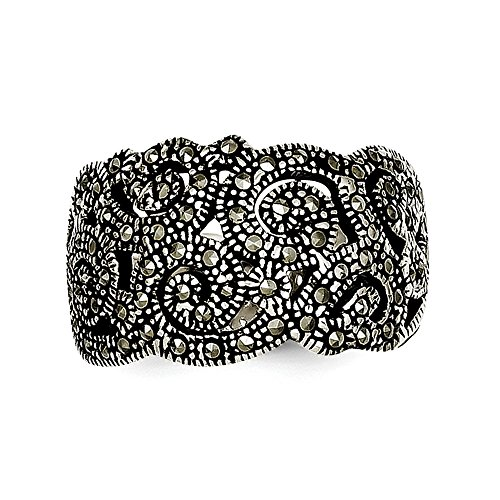 Sterling Silver Solid Open back Antique finish Marcasite Ring - Size 8