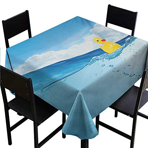 (Glifporia Square Table Cloth Rubber Duck,Little Duckling Toy Swimming in Pond Pool Sea Sunny Day Floating on Water,Blue and Yellow,W50 x L50 Waterproof Table Cover for Kitchen)