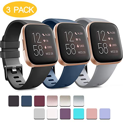 🥇 Pack 3 Soft Silicone Bands for Fitbit Versa 2 / Fitbit Versa/Fitbit Versa Lite Classic Adjustable Sport Bands for Women Men Small Large