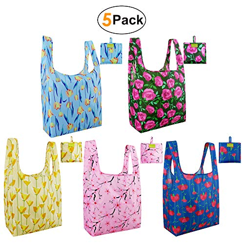 Reusable Grocery Shopping Bags Foldable Mother's Day Gift Bags Large Shopping Tote Bulk 50LBS Eco Grocery Totes Bags Ripstop Waterproof Machine Washable Sturdy Rose Tulip Poppy Cherry Blossom Carnatio