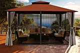 gazebo curtains 12x14 Paragon Outdoor Santa Cruz Gazebo 11x14 ft with Sunbrella Roof - Privacy Curtains and Mosquito Netting, (Rust Conopy)