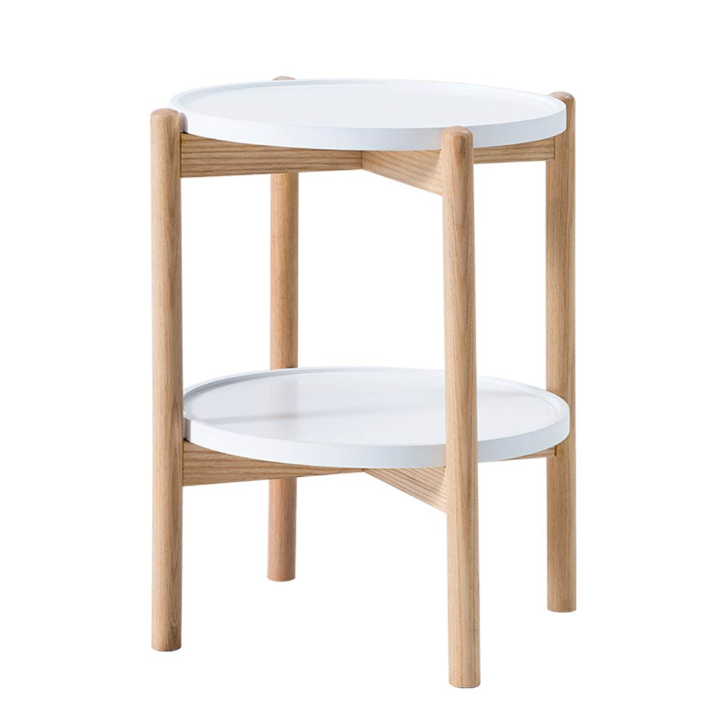 サイドテーブル ティーテーブルダブルラウンドコーヒーテーブルマルチレイヤーラックコーヒーテーブルテーブル46 * 54センチメートルシンプルな小さなコーヒーテーブル (Color : 白, Size : 46*46*54cm) 46*46*54cm 白 B07H4MMCRZ