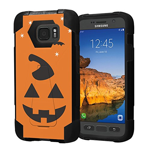 Galaxy S7 Active Case, Capsule-Case Hybrid Fusion Dual Layer Shockproof Combat Kickstand Case (Black) for AT&T Samsung Galaxy S7-Active SM-G891A - (Halloween Pumpkin) -