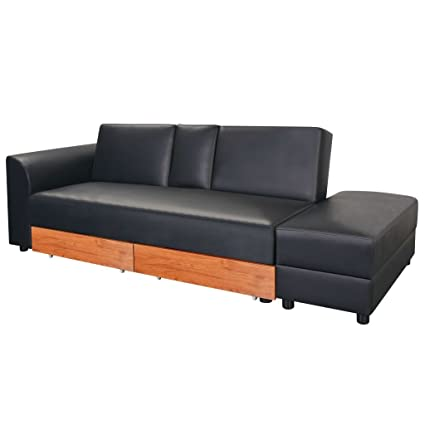VidaXL Sofa Bed W/Drawers And Ottoman Black Artificial Leather Couch Futon