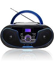 Radio portatili Boombox, LONPOO Lettore CD Bambini Stereo Audio con Bluetooth, Radio FM, USB, AUX-IN, Uscita cuffie (Nero 02)