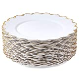 White Plastic Plates with Gold Scalloped Edge