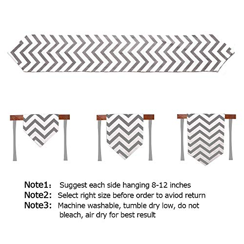 Uphome 1pc Classical Chevron Zig Zag Pattern Table Runner - Cotton Canvas Fabric Table Top Decoration, Grey and White by Uphome (Image #6)'