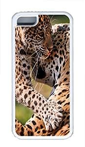 iPhone 5C Case Leopard Mom And A Cub TPU Custom iPhone 5C Case Cover White
