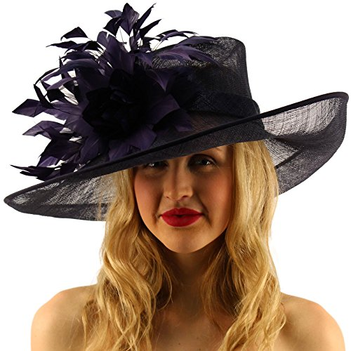 Glorious Side Flip Sinamy Floral Feathers Derby Floppy Dress Wide Brim Hat Navy by SK Hat shop