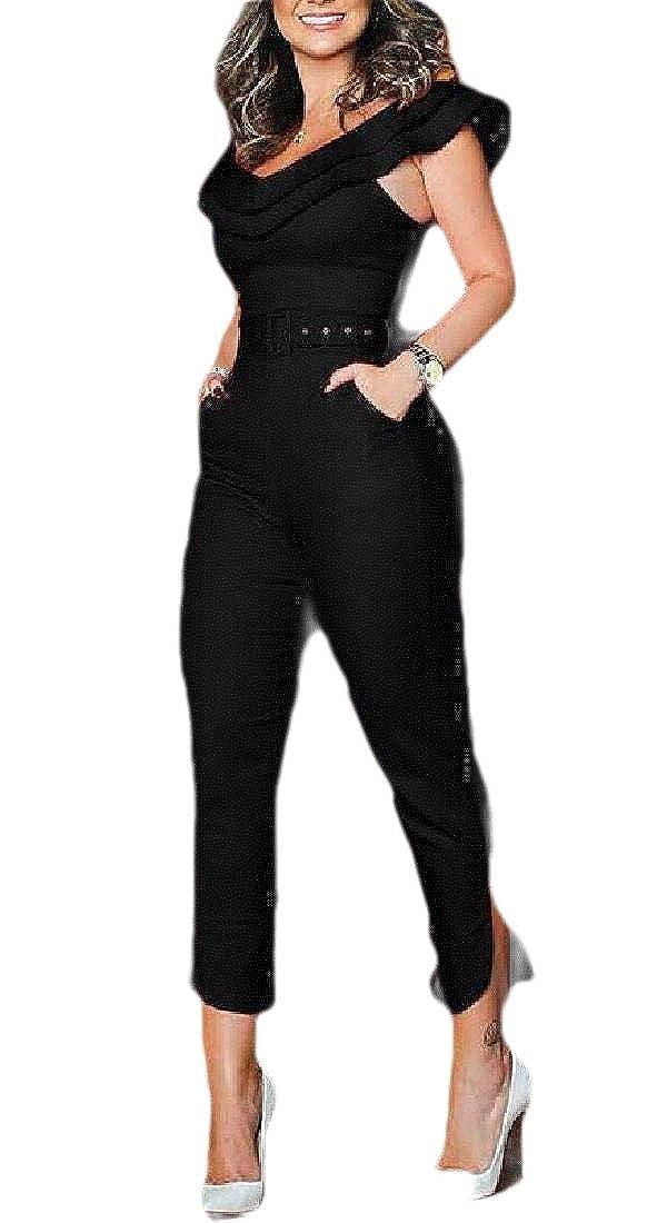 pipigo Women Juniors Playsuit V Neck Off Shoulder Sleeveless Jumpsuit