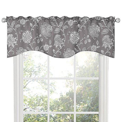 "Renaissance Home Fashion Felicity Lined SCAL Valance, 52"" x 17"", Charcoal"