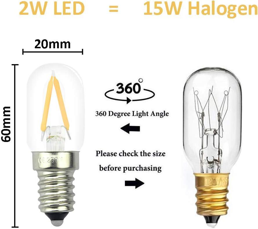2W LED Fridge Light Bulb E14 Cool White 6000K 15W Halogen Equivalent Energy Savi