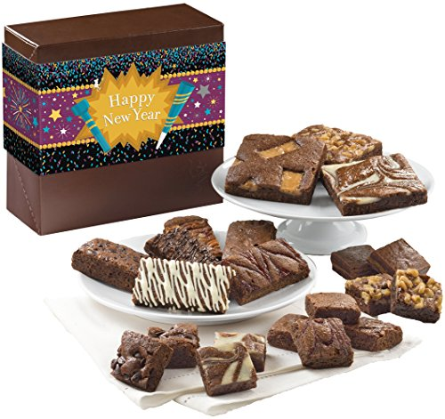 Fairytale Brownies New Year Medley Gourmet Food Gift Basket Chocolate Box - Full-Size, Snack-Size and Bite-Size Brownies - 21 Pieces