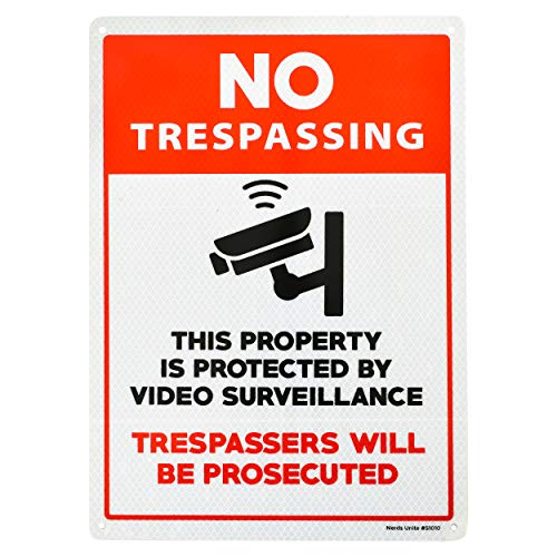 Reflective Aluminum Sign - Video Surveillance Sign   No Trespassing   Outdoor Reflective Aluminum Sign for Business or Home   Security Camera Sign   Warning Sign for Property