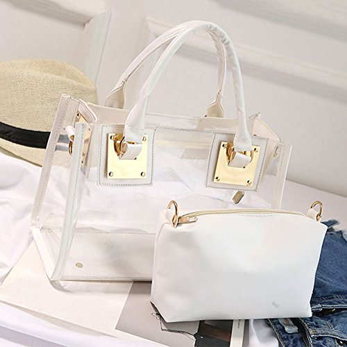 White M Bag Set Transparent Shoulder amp;A Beach Bags Womens Handbag 2Pcs PqxrvwPfS