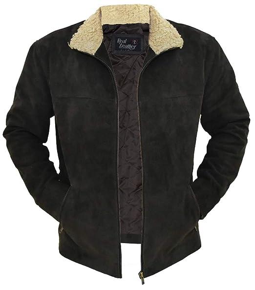 Amazon.com: Chaqueta de piel para hombre, color negro ...