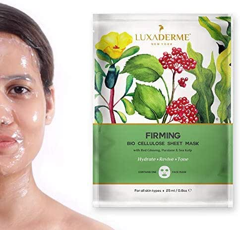 LuxaDerme Firming Bio Cellulose Face Sheet Mask with Red Ginseng, Purslane, and Sea Kelp, 25 ml