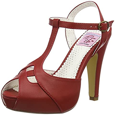 Pin Up Couture Women's Bett23/Rpu Platform Sandal, Red Faux Leather, 11 M US - Retro Peep Toe