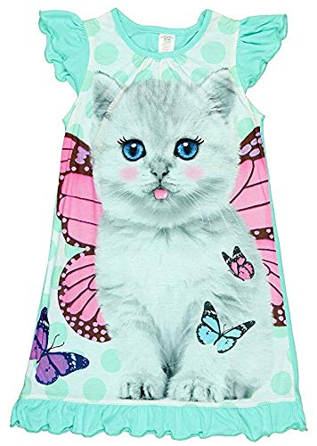 Girls Flutter Sleeve Graphic Sleep Night Gown X-Small White