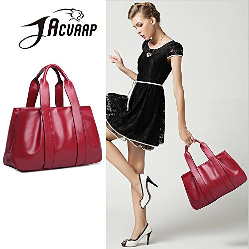 burst bags model Ms red PU JVPS15 Wine American three dumpling kinds and vintage messenger women's shoulder back method large bag bag bag leather ladies' R handbag European 2018 capacity fashion IwtIE7