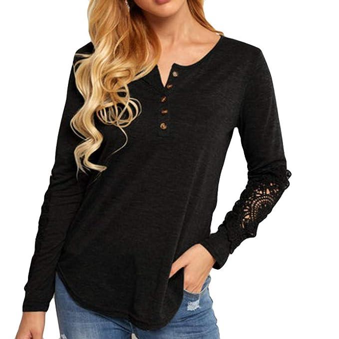 Luckycat Las Mujeres con Cuello en V de Encaje de Moda Superior Camiseta de la Camiseta
