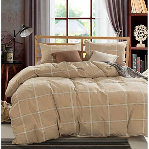 (MISC 3 Piece Camel Brown Plaid Pattern Duvet Cover Set King Tan Beige Checkered Theme Bedding Buffalo Patterned Square Cabin Themed Horizontal Vertical Striped Stripes Flannel,)