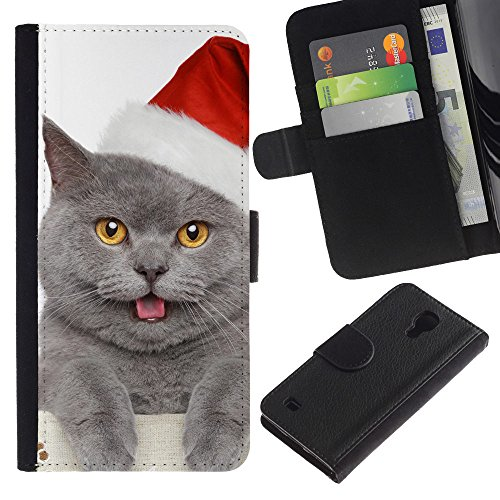 EuroCase - Samsung Galaxy S4 IV I9500 - British shorthair Russian blue cat Christmas - Cuero PU Delgado caso cubierta Shell Armor Funda Case Cover