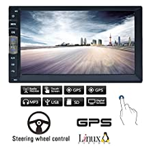 "Navigation Seller- Privileged Sale 7""HD Touch Screen GPS Navigation System In-Dash Double Din Linux Vehicle Car Radio No-Dvd Player Stereo Reciver with Bluetooth USB 8GB SD Map Card"