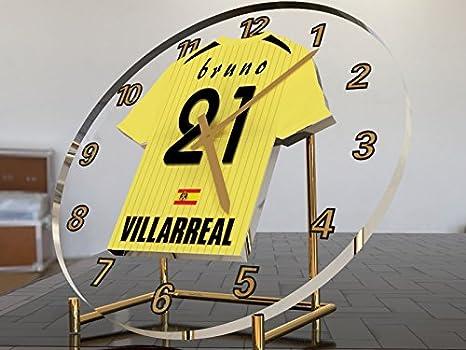 Reloj de sobremesa, diseño de camiseta de fútbol de La Liga española, hombre, Villarreal CF: Amazon.es: Deportes y aire libre