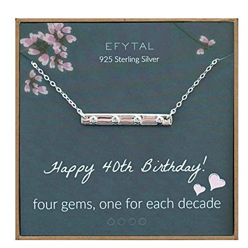 EFYTAL 40th Birthday Gifts for Women, 925 Sterling Silver Four CZ Bar Necklace For Her, 4 Decade Jewelry 40 Years Old