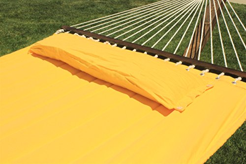 G3Elite 14' Wooden Arc Hammock Stand With Double Wide Quilted Padded Bed w/Matching Pillow, Smooth Wood Water Treated Stain Finish, Strong Durable, Holds 450 lbs (14', Teak w/Yellow Bed)