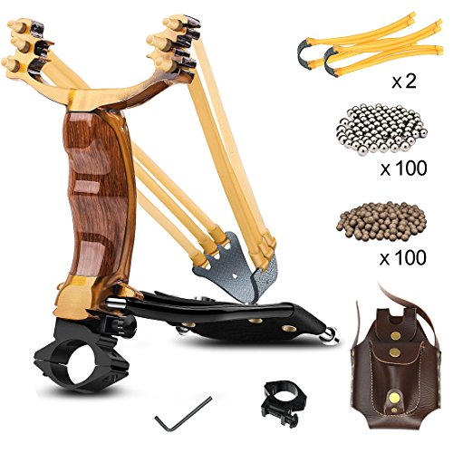 Professional Slingshot YZXLI Stainless Steel Outdoor Hunting Sling Shot High Velocity Catapult with 2 Rubber Bands and 200 Extra Slingshot Ammo