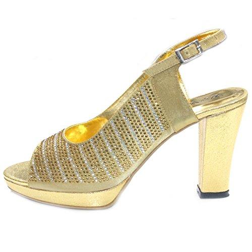 Wear & Walk UK W&W Women Ladies Diamante Double Platform On Front Block Heel Wedding Party Evening Bridal Shoes Sandal Size4-9(Eddy) Gold prCYKs74