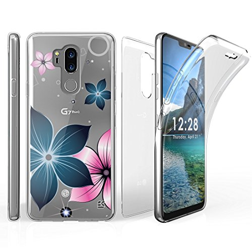 Tri Max LG G7 ThinQ Case with Ultra Slim 360 Degree Full Body Protection Cover with Self-Healing Flexible Gel Clear Screen Protector and Atom Cloth for LG G7 ThinQ - Mystic Flowers