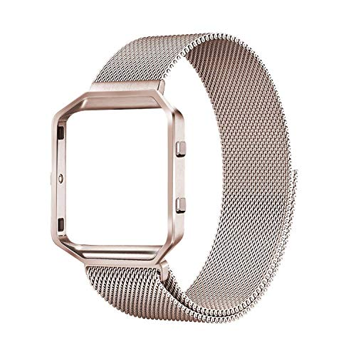 Compatible with Fitbit Blaze Bands, Small and Large Stainless Steel Replacement Adjustable Band with Metal Frame for Fit bit Blaze Women Men, Champagne Gold Large