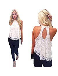 Coromose Sexy Women Summer Casual Sleeveless Shirt Lace Loose Vest Top Blouse