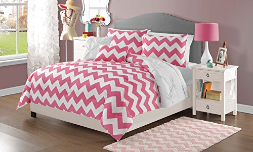 5 Piece Girls Hot Pink Chevron Comforter Full Queen Set, Beautiful Diamond Pattern, Pin Tucked Bedding, Pretty Fun Horizontal Style, Fun White Pinch Pleated, All Over Pintuck Puckered Themed, (Pink Cheveron)