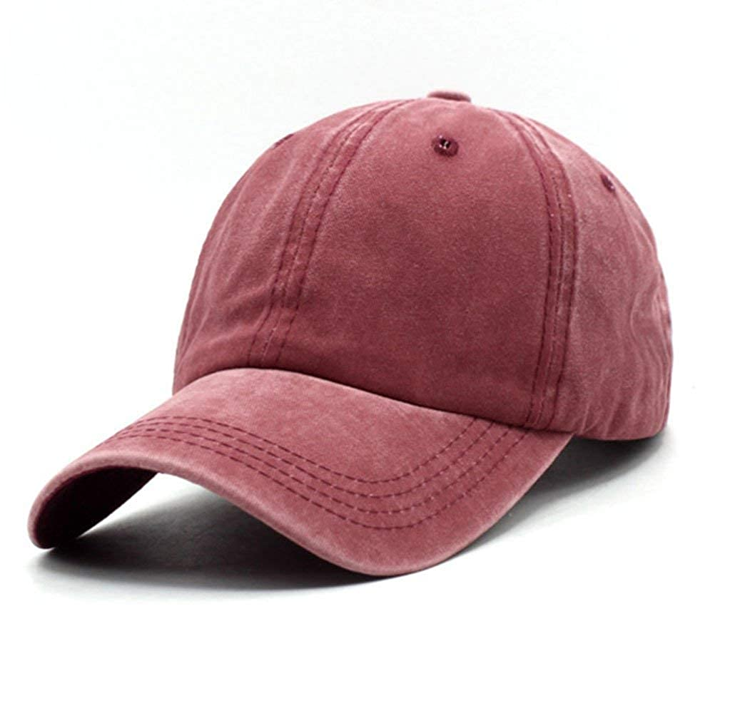 Unisex Vintage Washed Distressed Baseball-Cap Twill Adjustable Dad-Hat  (Burgundy) at Amazon Women s Clothing store  f18584080902