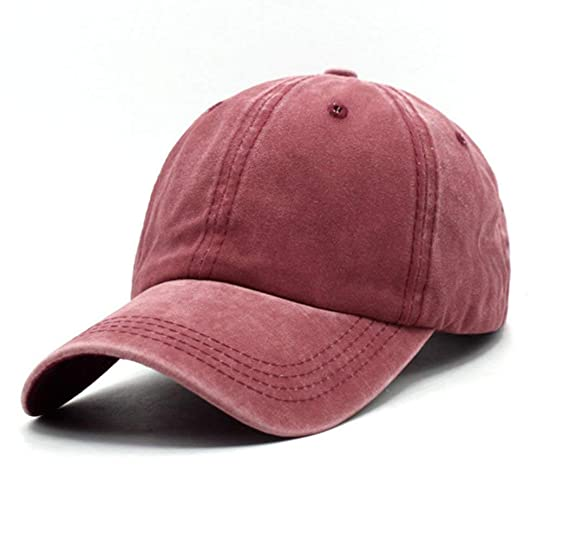 6a4028b3907 Unisex Vintage Washed Distressed Baseball-Cap Twill Adjustable Dad-Hat  (Burgundy)