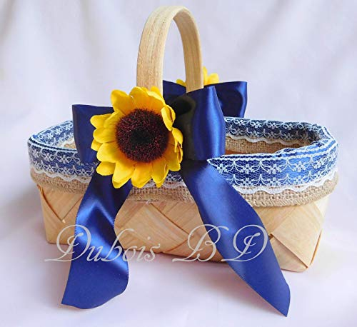 Flower Girl basket, Wedding basket, Sunflower basket