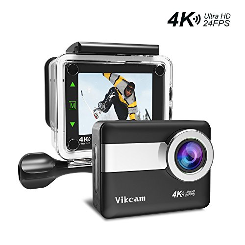 Action Camera 4K 20MP WIFI Ultra HD Waterproof Sport Camera Vikcam Action Cam with 2.31 Inch LCD Touch Screen 170 Degree Wide Angle Lens - Black Action Cameras Vikcam