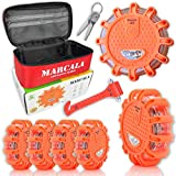 Marcala LED Road Flares 6-Pack | Emergency Roadside Discs | Car Emergency Kit | DOT Compliant LED Safety Flares Kit w Batteries Installed - Carry-Case and 3 Bonuses | Feel Safer on The Road!