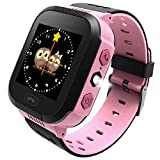 Enow Kids Smart Watch, LBS Tracker for 3-12 Year Old Boys Girls with SOS Call Camera Flashlight Alarm Activity 1.44'' Touch Screen SIM Card Slot Electronic Toy for Android/iOS (Pink)