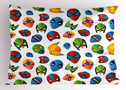 (Ambesonne Superhero Pillow Sham, Legendary Cartoon Character Masks Flash Batman Spider-Man Comic Costume Print, Decorative Standard Size Printed Pillowcase, 26 X 20 Inches,)