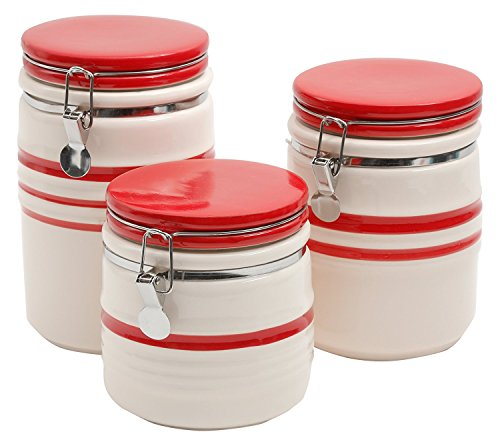 - Gibson Home 102376.03RM General Store Home Hollydale 3 Piece Banded Stoneware Canister Set, Linen/Red