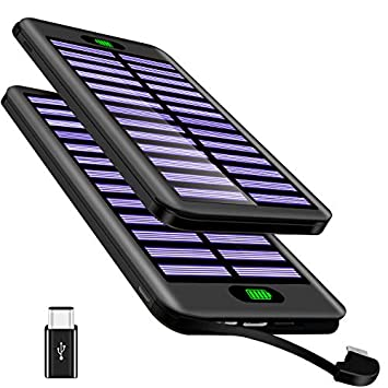 Power Bank 16000mAh VNOOKY Cargador Móvil Portátil Batería Externa Solar Cable Micro Incorporado y 3 Entrada con para Android Phones, Tablet y otros ...