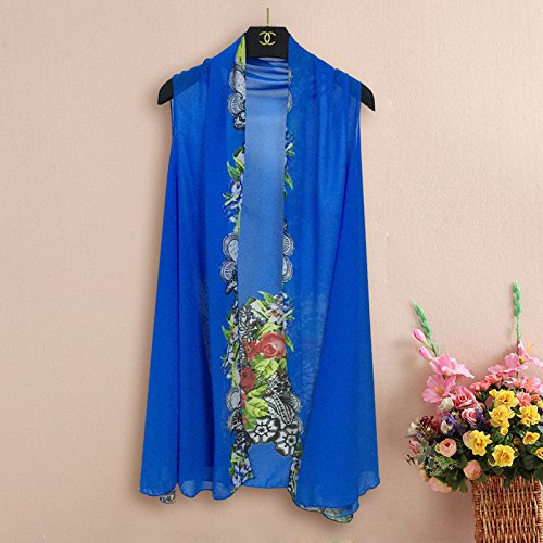 E-Papaya Women's Solid/Printed Sleeveless Chiffon Cardigan Cover ...