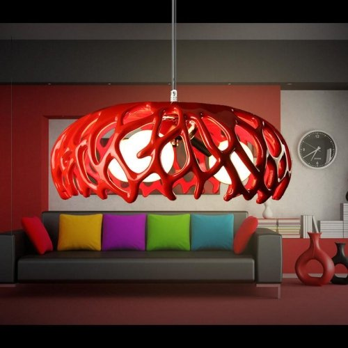 LightInTheBox Artistic 40W Pendant Light Contemporary Painting Coral Shape Lighting Chandelier Light Lamp for Living Room / Bedroom / Dining Room / Study Room / Office (Red)