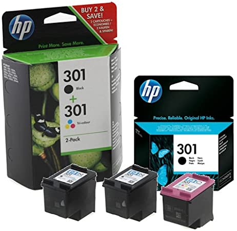 HP 2X Black & 1x Colour Genuine Original 301 Ink Cartridges For ...